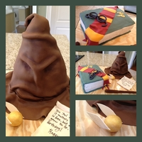 Harry Potter Themed Birthday Cake This was a fun cake to make! Most of the details are gumpaste, fondant covered cakes. The sorting hat is cake for the bottom 2/3 and rkt as...