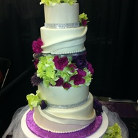 "Spring Elegance This cake was the centerpiece cake at my recent bridal show booth. It is 12"", 10"", 8"", and 6"". It is covered in MMF,..."