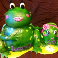 Sammie's Frogs A 20th Birthday cake for my stepdaughter who LOVES frogs! She recently had a baby named Rosie........hence the little frog with the rose...