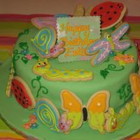 Edy's Bug Cake   1st birthday cake. Fondant covered cake with sugar cookie bugs.