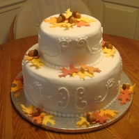 Fall Birthday Cake   Buttercream with fondant leaves and acorns