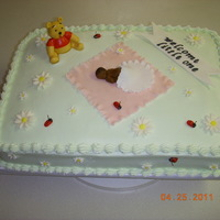 Winnie The Pooh Baby Shower Cake This was for a baby shower, my neice was giving to a co-worker. She wanted winnie the pooh and lady bugs like the invitation. b/ c iced....