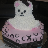Baby Shower Cake  The client requested Teddy Bear with Pink & Brown bottom tier. So I decided to do a 3D teddy bear. The Bear was white cake with cream...