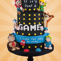 Video Game Love Wedding cake featuring some retro game characters!