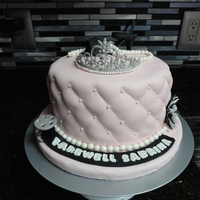 Audrey Hepburn Inspired Farewell Cake Pink fondant fake with royal icing tiara,