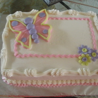 Baby Shower buttercream with fondant butterfly and accents