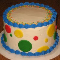 First Birthday Cake This is a smaller cake that I made for a friend's son to dig into. She had a cake topper that she put in the middle. It was stars and...