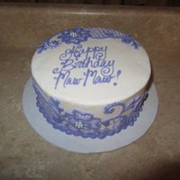 Lace Cake My grandma's birthday cake. I copied a cake that I had found on the internet. I love the lace pattern.