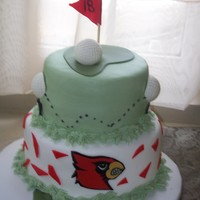 Cardinal & Golf Lover Make for a man that is huge Cardinal(louisville) fan & Enjoys golf. the golf balls are chocolate. Cardinal is fondant