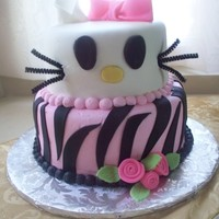 Hello Kitty All buttercreme, accepted the ears, zebra stripes, Bow. Whiskers are wires.