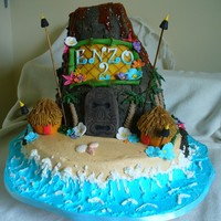 Volcano Island Luau Cake For a 2 year old's annual luau birthday bash. All buttercream with fondant decorations. Took LOTS of inspiration from vocano's...