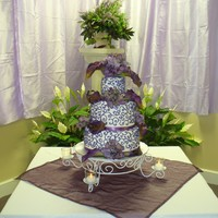 Purple Scroll Wedding 4, 8 and 10 inch rounds, purple scroll, all BC Silk hydrangea and callas.