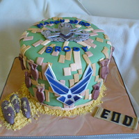 Eod Birthday Birthday cake for an airforce bomb defuser. Made the EOD logo on top from fondant, airforce emblem on front is printed image.