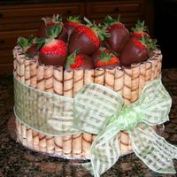Chocolate Strawberry Basket chocolate cake and BC, dark and chocolate hazelnut piroulines, chocolate covered strawberries