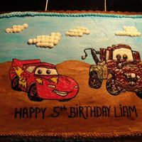 Disney Cars *This is a 1/2 sheet frosted in buttercream. Images were drawn on with gel icings.