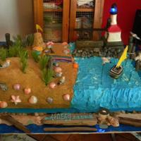 Michigan City Indiana Beach Front. *This is a full sheet cake frosted with buttercream. Sand is crushed graham cracker mixed with sugar sand. Items are made from modeling...