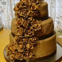 Chocolate Cake With Ganache Undercoat And Modelling Chocolate Fondant Cascade Of Modelling Chocolate Roses Chocolate cake with ganache undercoat and modelling chocolate fondant.Cascade of Modelling chocolate roses