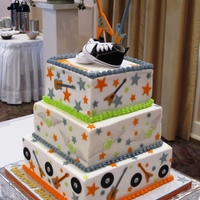 Rock-N-Roll Baby Shower Cake Square cakes with buttercream icing and fondant decorations. Decorations were made using the Cricut Expression Machine.