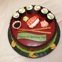 Sushi Cake Buttercream Icing and Fondant Decorations.