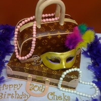 Louie Vuitton Cake Buttercream icing, gumpaste mask and fondant pearls.