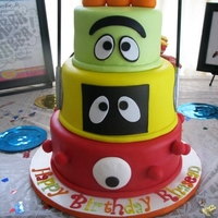 Yo Gabba Gabba Cake Fondant covered cake.