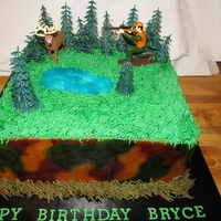 Camouflage Hunting Cake Hunting Cake which was airbrushed camouflage and the cake itself was camouflage on the inside.