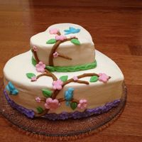 Spring Cake For my daughters 10th birthday- she wanted something cheerful- butter-cream icing with fondant decorations