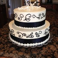 90Th Birthday buttercream with satin ribbon