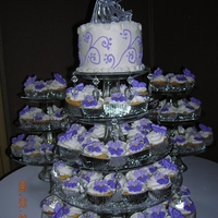Cupcake Wedding Cake  Royal icing pansies and butterflies on cupcakes. They look lovely on three tiered glass dessert trays. I added two more glass plates to the...