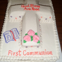 Raised Cross First Communion Cake. This is a 12x18 sheet cake with the cross pan cake on top. All buttercream.