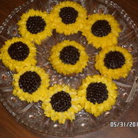 Sunflower Cupcakes Easy sunflowers. Dark chocolate dots of frosting in the center with tip 5 and two rows of petals with leaf tip.