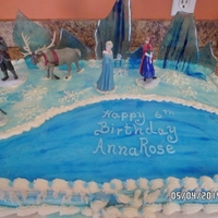 "Frozen Cake Frosted in buttercream. The pond has a layer of light corn syrup on it to make it shine like ice. The ""ice"" sticking up in back..."
