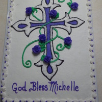 Purple Cross And Roses Cake There Are Sparkles On The Cross Too Purple Cross and Roses cake. There are sparkles on the cross too.