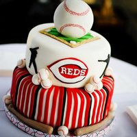 Grooms Cake For A Reds Fan Cake Is Vanilla Oreo Filled With Oreo Cream All Decorations Are Fondant Ball Is Rice Cereal Covered In Fond  Grooms cake for a Red's Fan! Cake is vanilla oreo, filled with oreo cream. All decorations are fondant, ball is rice cereal covered in...