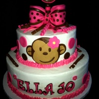 Monkey Cake  Here is my second requested monkey cake, this one is buttercream iced with fondant decorations. The cake tiers are 12inch and 8inch. This...