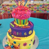 Cupcake Cake 3 tier butter cream iced and fondant decorated cake for an eight year old little girl. Theme was cupcakes and softballs.