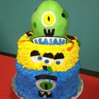 Monsters And Aliens  I found inspiration for this cake here on Cake Central, my youngest brother wanted a Monster cake and when he saw the picture he had to...