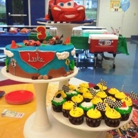 Disney Cars Cake  Disney Cars Cake, 3D carved car with fondant decorations, car is all edible. 10 inch buttercream cake with fondant decorations and matching...