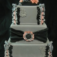Fabric-Inspired Gray Cake All fondant and gumpaste..tfl!