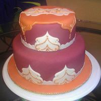 Moroccan Themed Cake *Two tiered, fondant, hand painted gold trim.