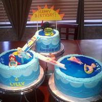 "Pool Party *Kids pool party using the wilton three tiered cake stand. 6"", 8"" and 10"" cakes using fondant for slides and characters. Big..."