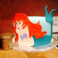 "Little Mermaid, Ariel. 6"" Ariel birthday cake with Fondant cutouts."