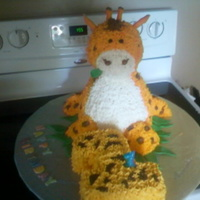 Giraffe Cake yellow cake with butter cream, fun cake to make