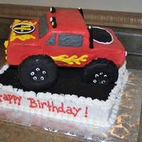 Monster Truck marble cake, buttercream with fondant wheels and accents