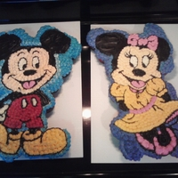 Mickey And Minnie Ccc Done for Twins 1st Birthday. I believe it was 24 cup cakes per cake. I drew the characters on the icing with a tooth pick and then filled...