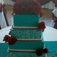 Buttercream And Fresh Roses   Teal blue buttercream with sliver dragees and fresh roses ~ TFL