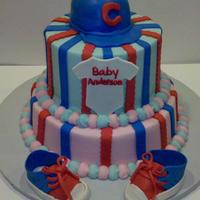 Cubbies Baby Shower Cake Cubs Baby shower cake , buttercream with fondant decorations and gumpaste baby shoes..... TRL !