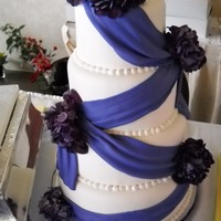 Purple Hydrangea Fresh Hydrangea on Fondant cake with fondant swags ....