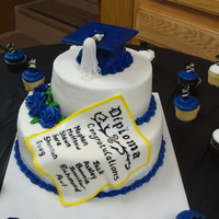 Graduation Cake White cake with raspberry filling. Butter cream frosting except for mortar board, tassel and diploma.
