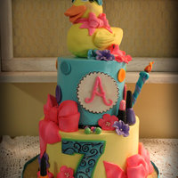 Sassy Rubber Ducky Buttercream finished cake with fondant details for Ainsley's birthday celebration.